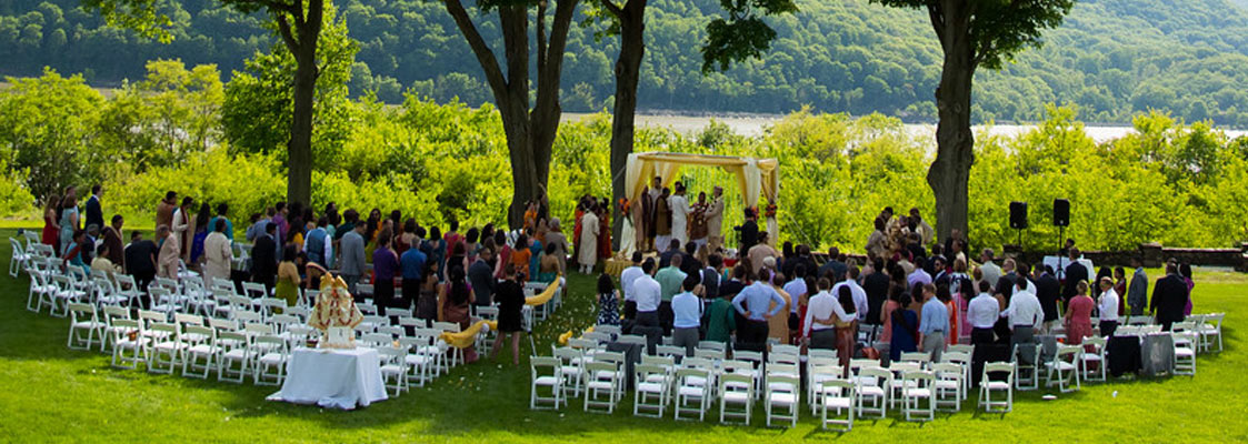 puja and glenn's wedding ceremony on the grand lawn. photo taken by emma cleary photo & video